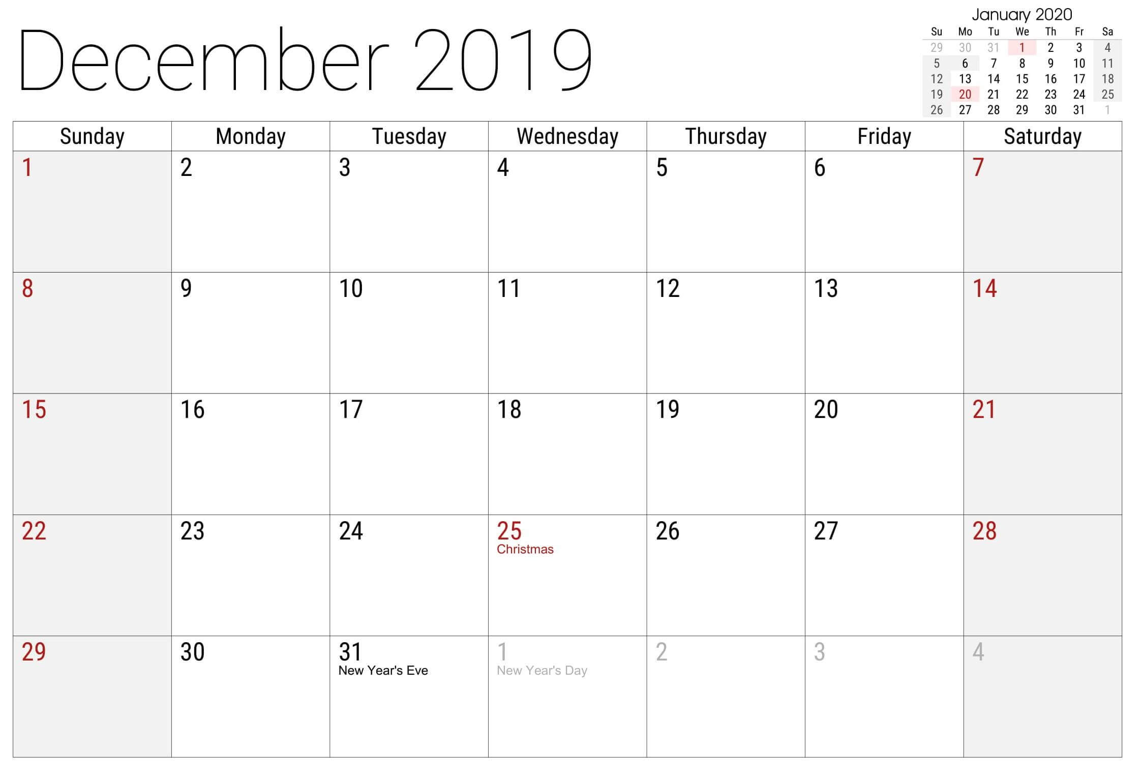 Calendar December 2019 With Holidays US