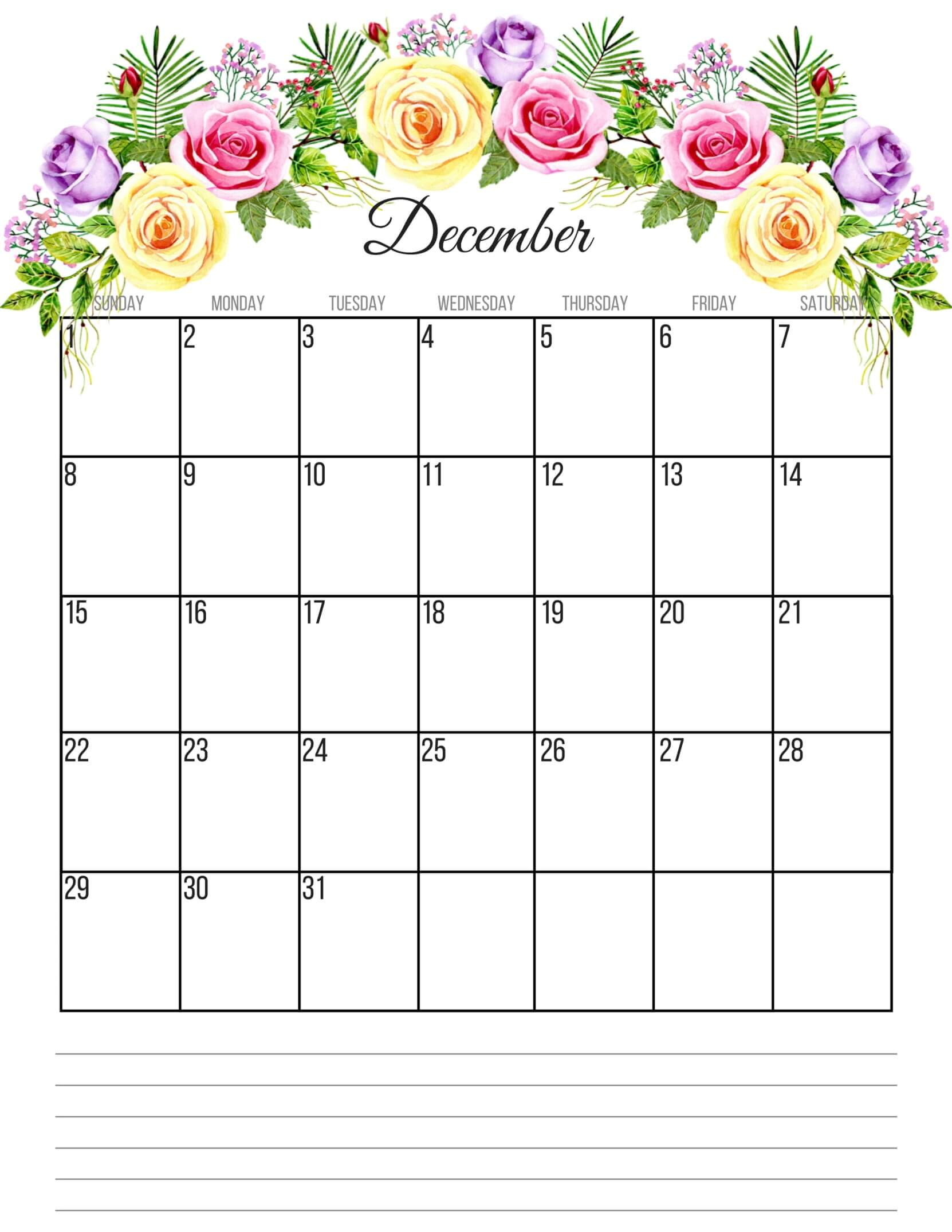 Cute December 2019 Calendar With Notes