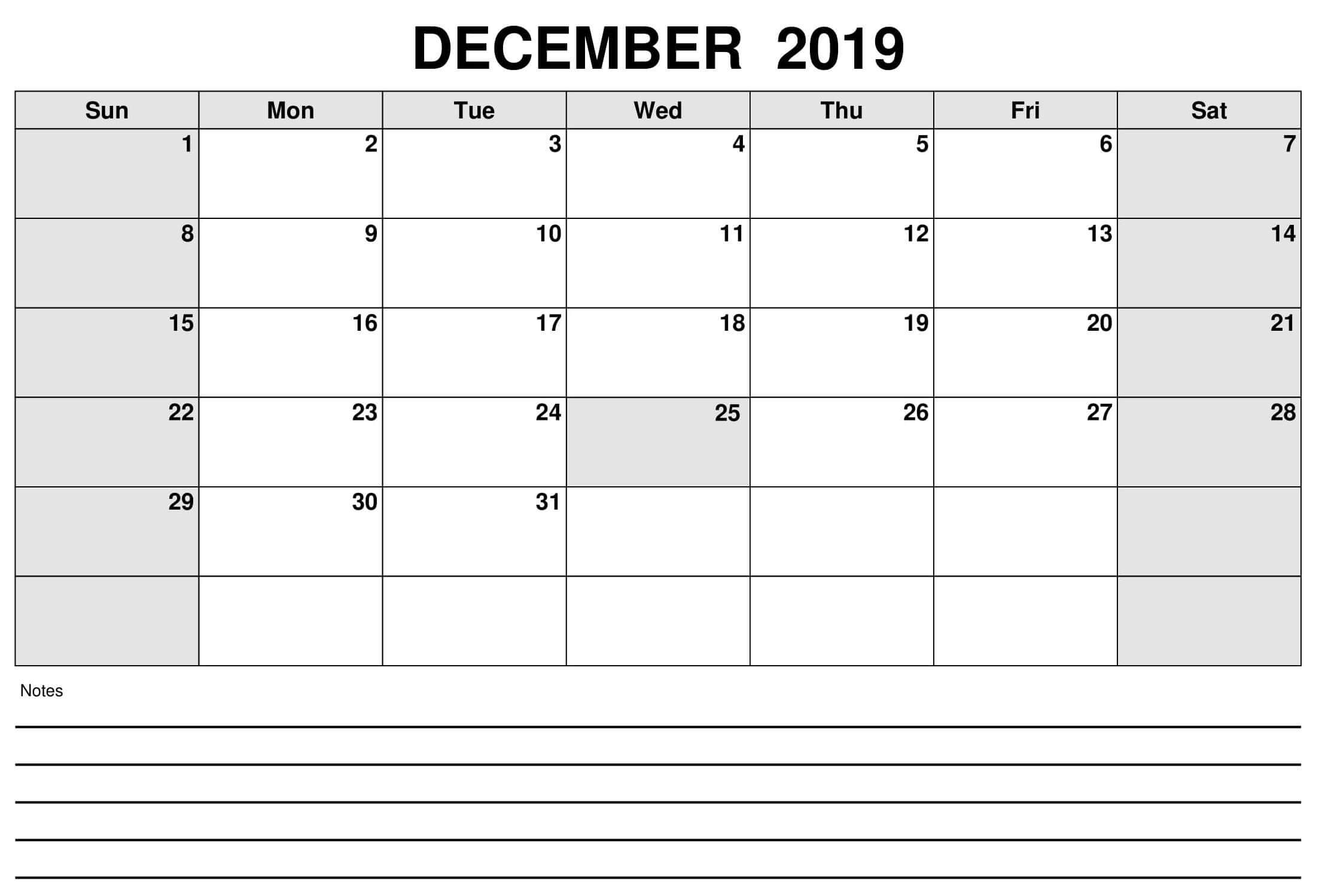 December 2019 Calendar Excel Worksheet