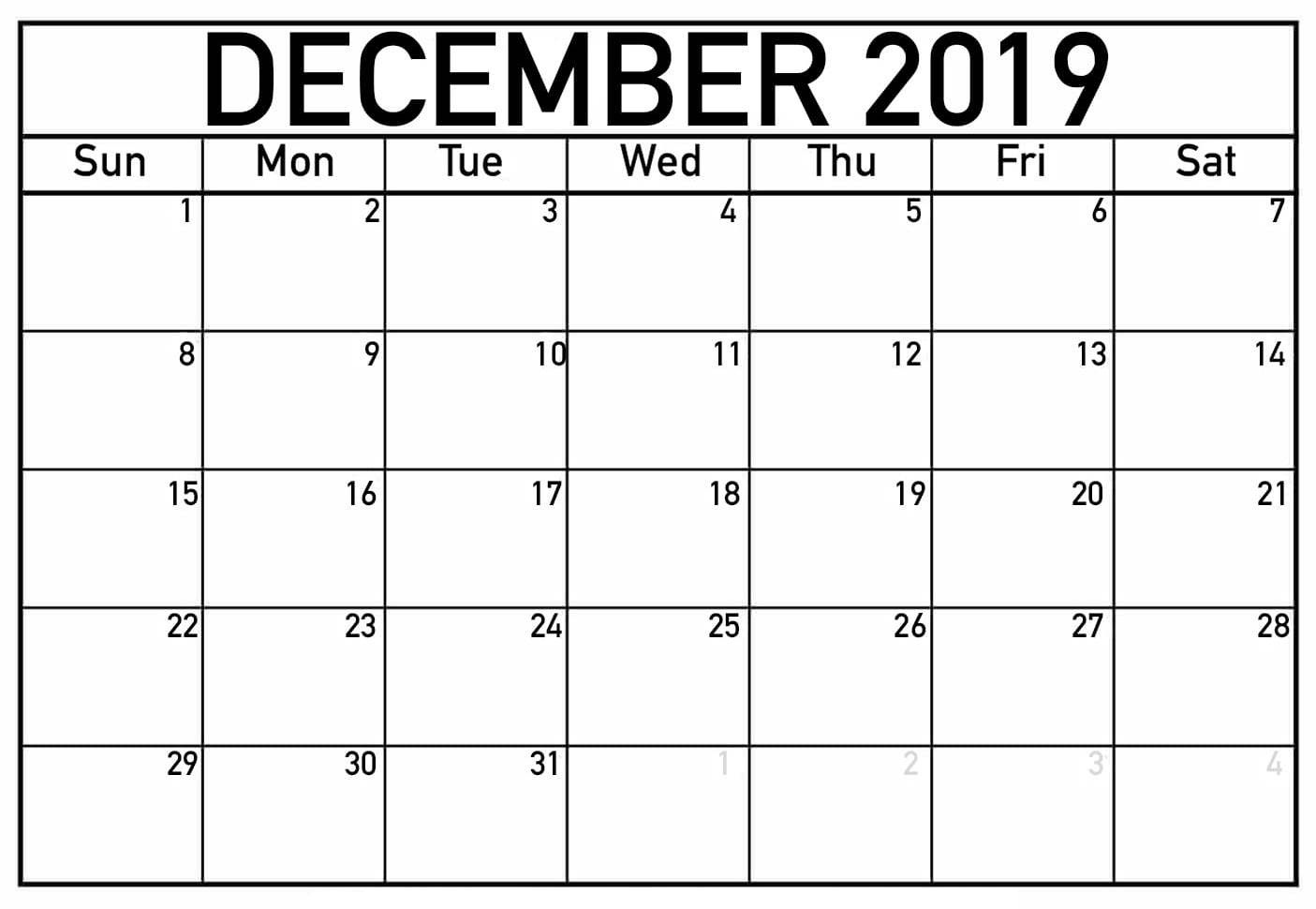 December 2019 Calendar In Excel Template
