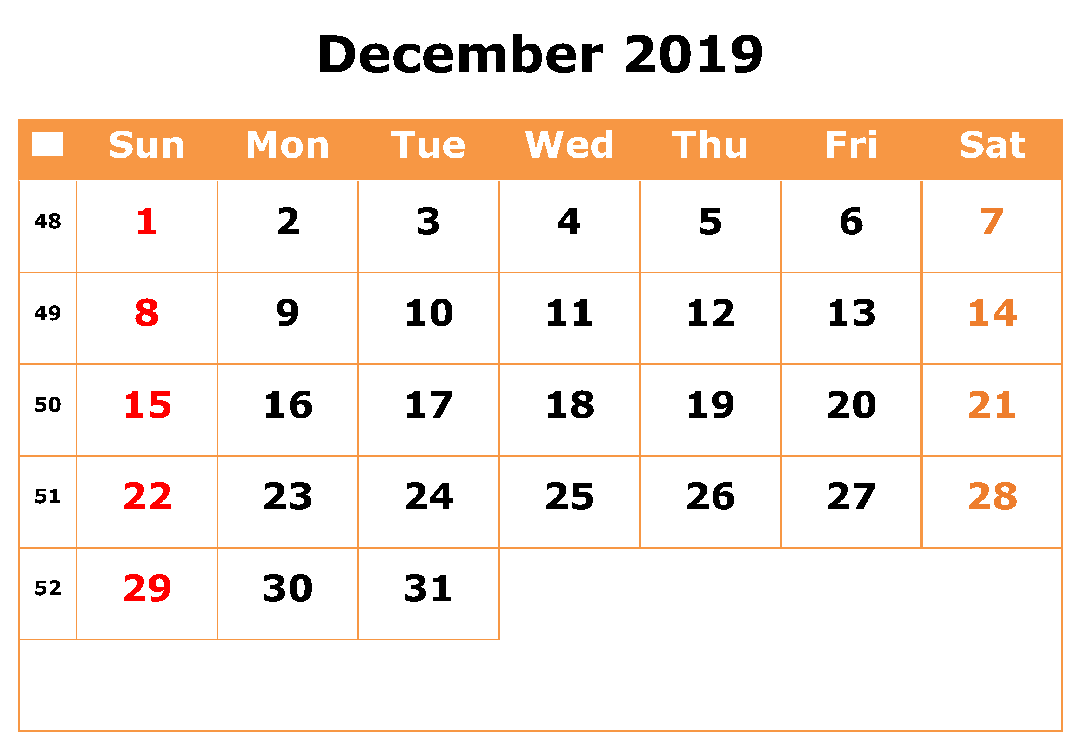 December 2019 Calendar UK Federal Holidays