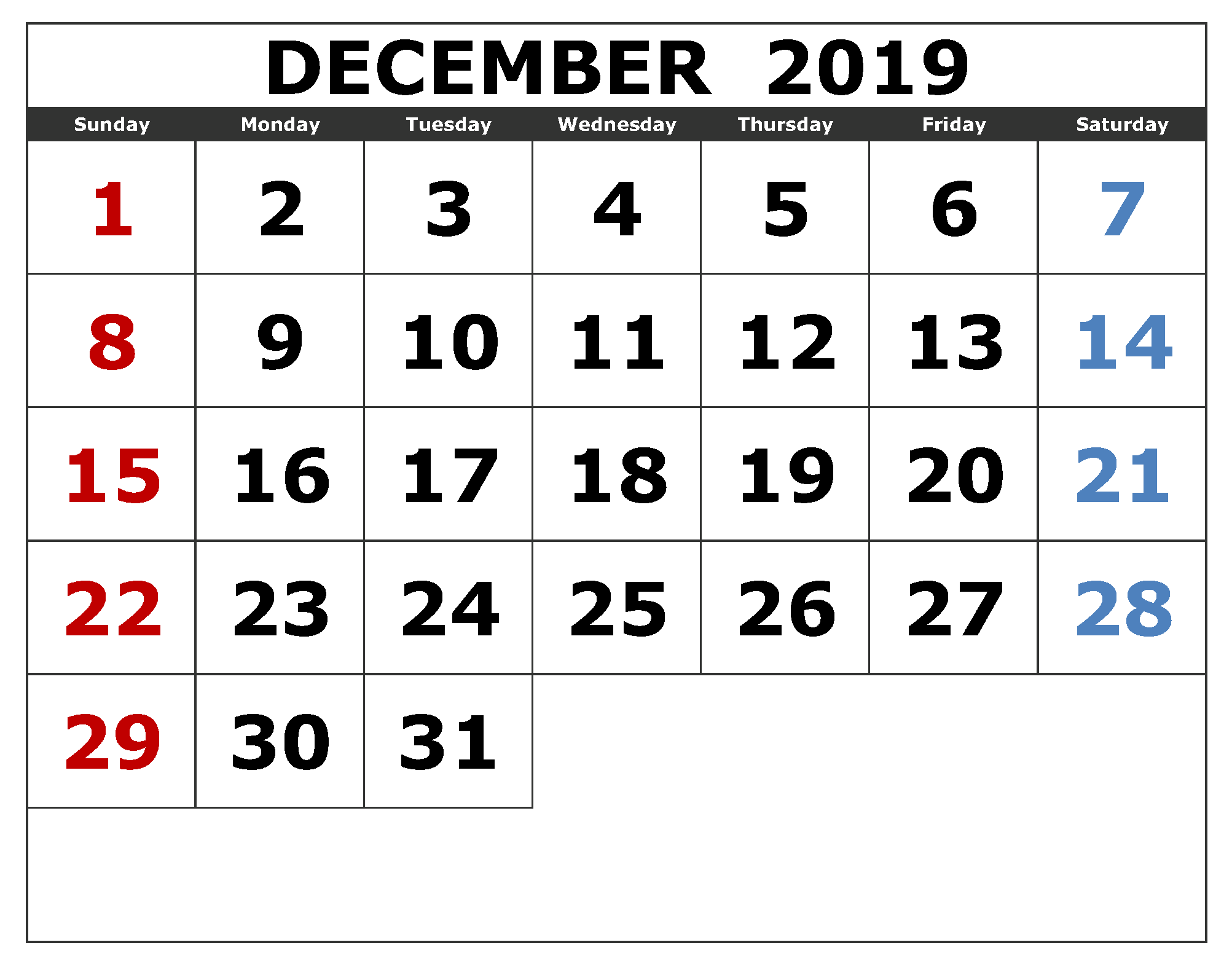 December 2019 Calendar US Federal Holidays