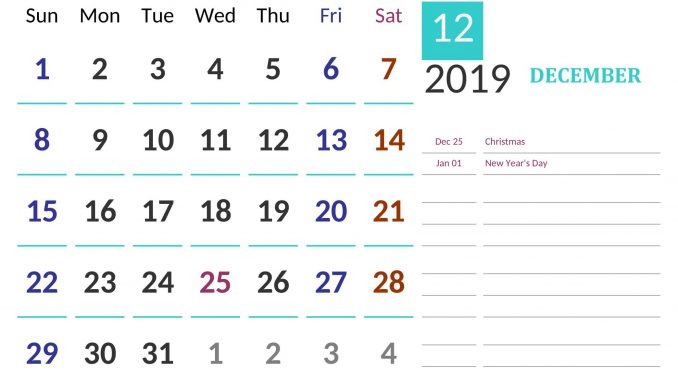 December 2019 Calendar US Public Holidays