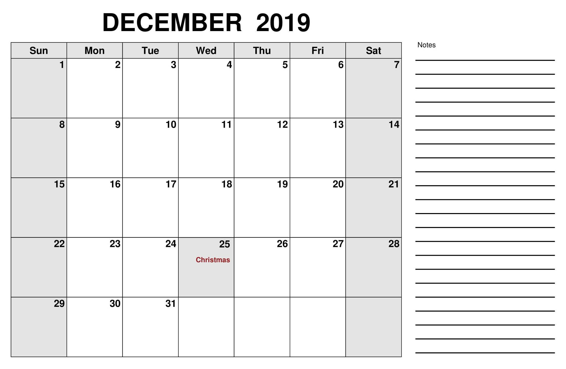 December 2019 US Calendar With Holidays