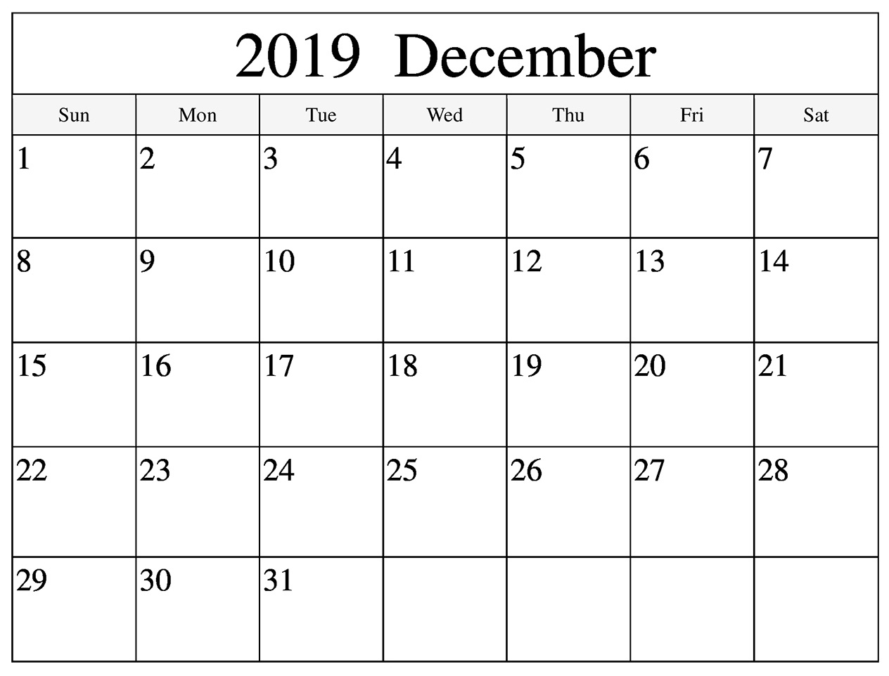 Monthly Calendar For December 2019
