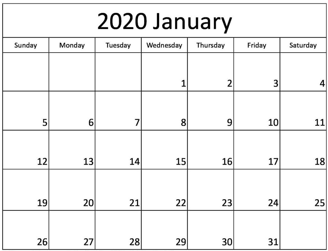 Blank Printable January 2020 Calendar