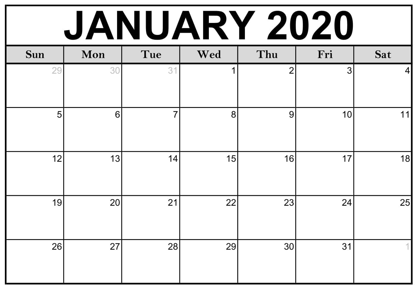 Free Printable January 2020 Calendar Vertical