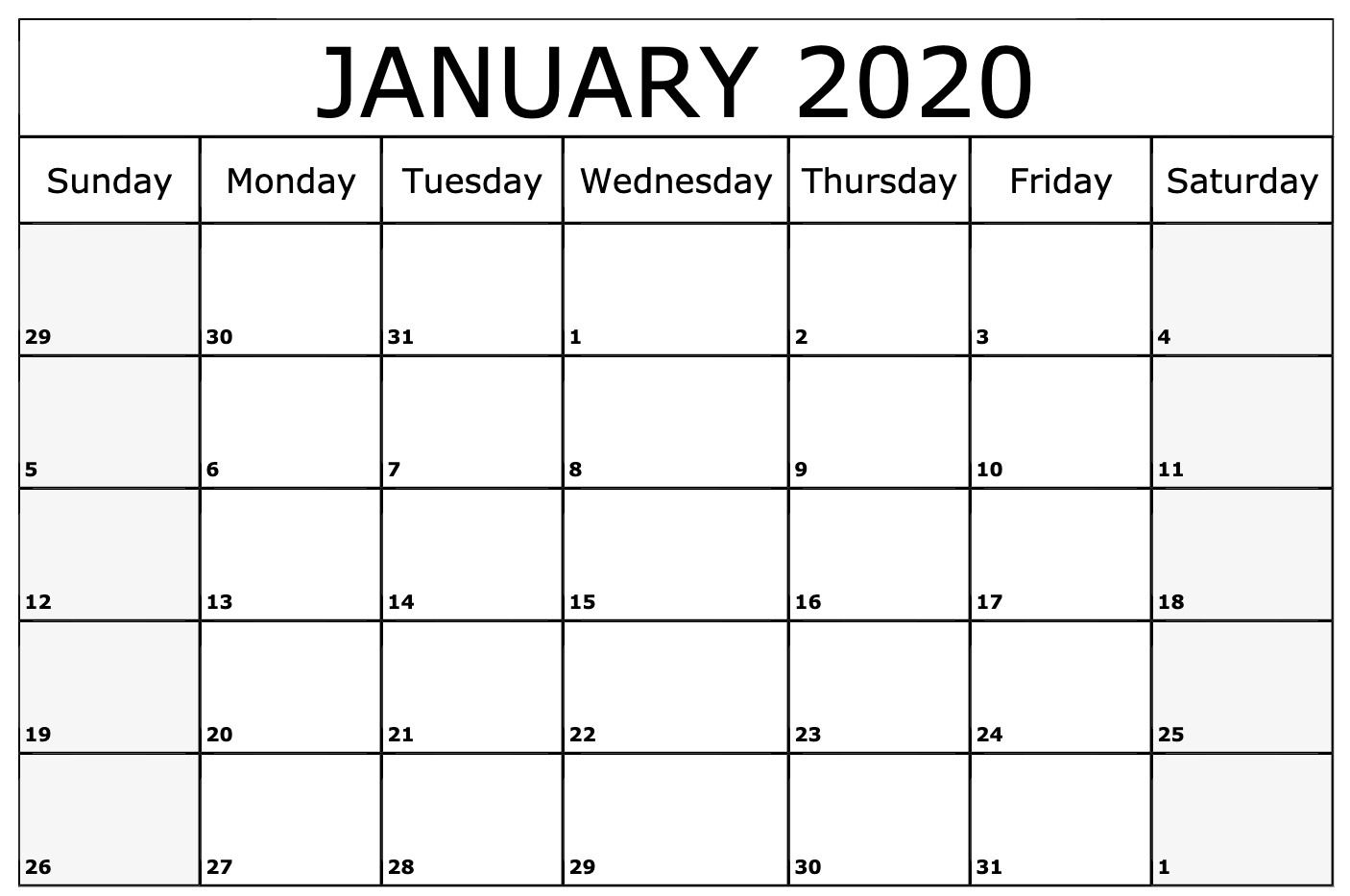 Free Printable January 2020 Calendar Word