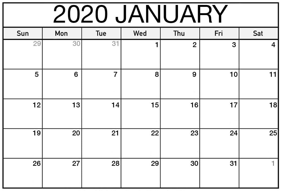Free Printable January 2020 Calendar