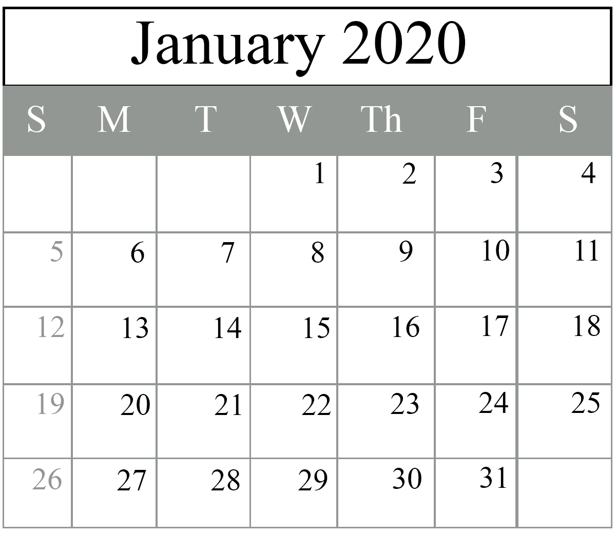 January 2020 Calendar Excel Template