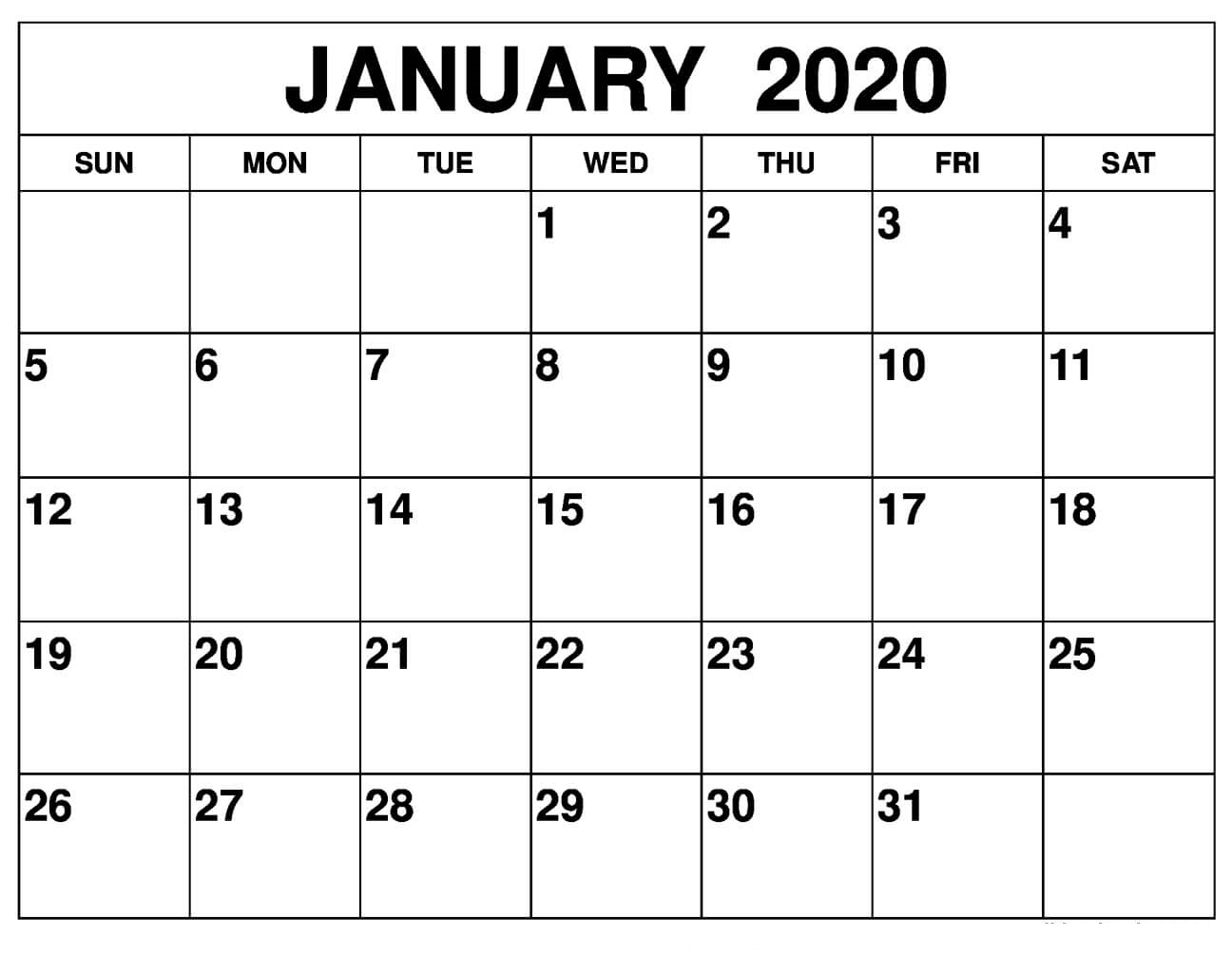 January 2020 Calendar Printable