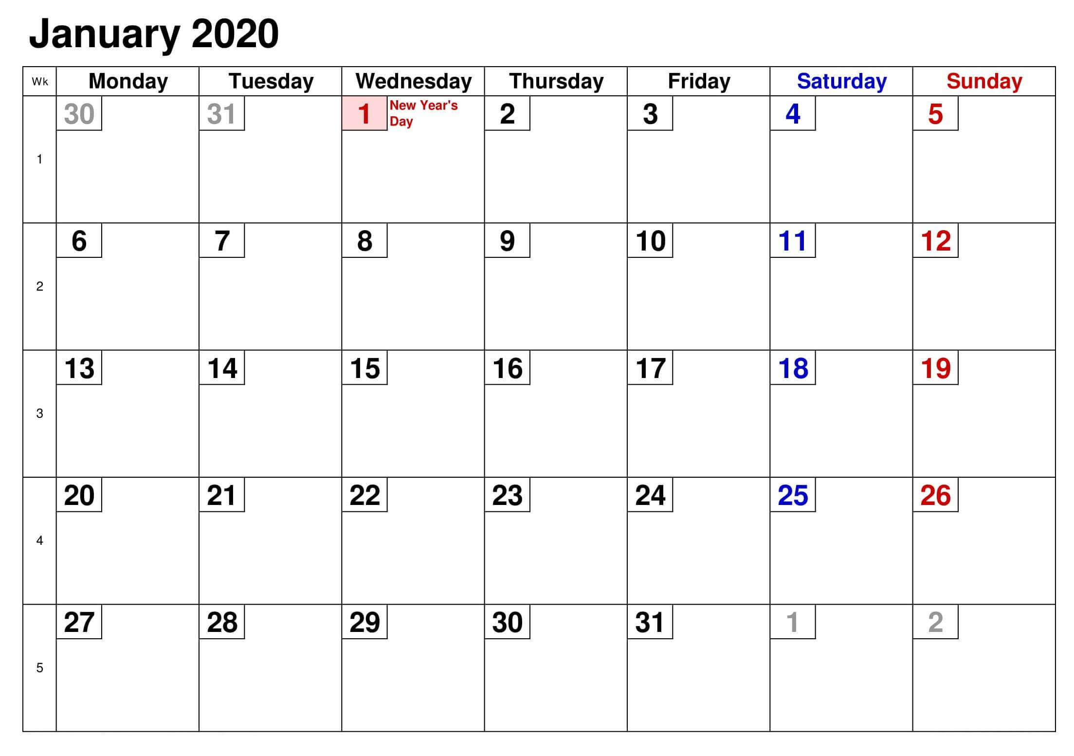January 2020 US Holidays Calendar