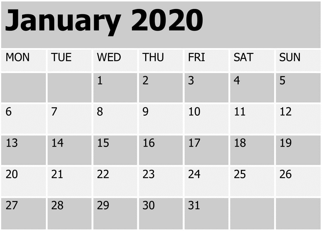 Printable January 2020 Blank Calendar