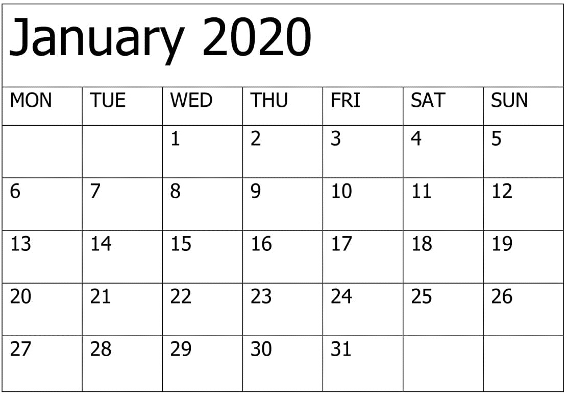 Printable January 2020 Calendar Download
