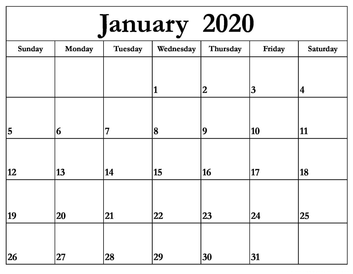 Printable January 2020 Calendar PDF