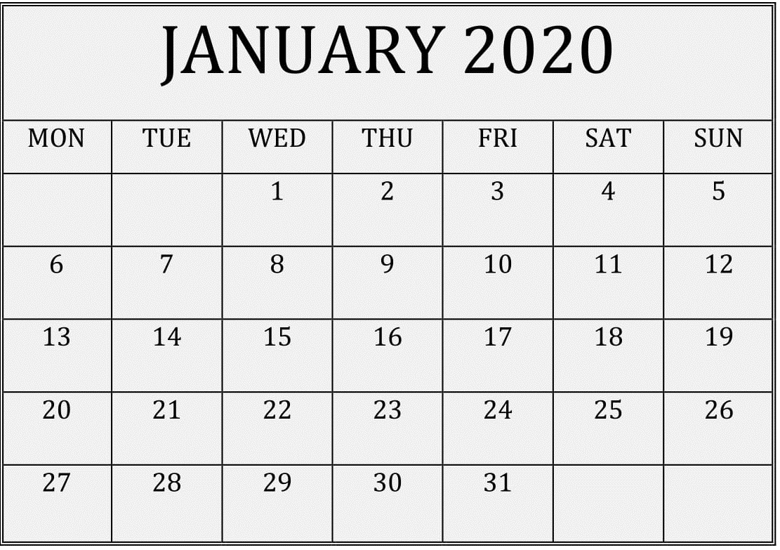 Printable January 2020 Calendar Pages