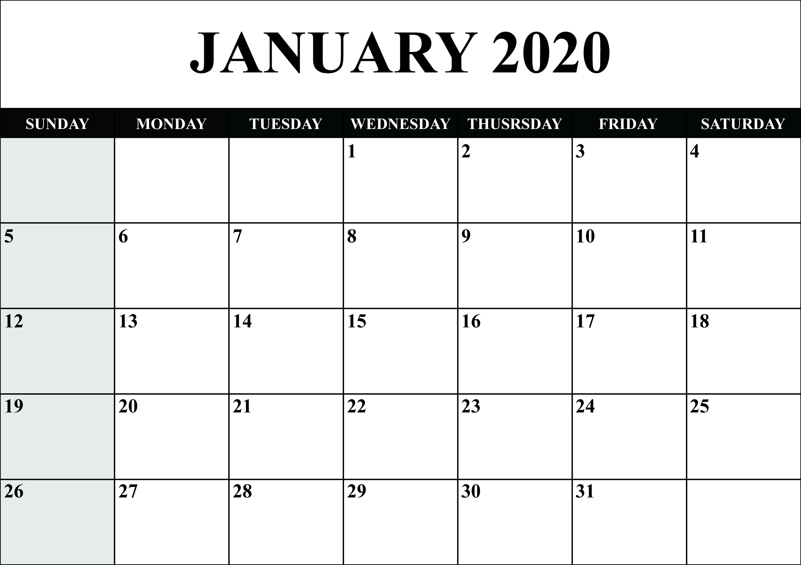 Printable January 2020 Calendar Template