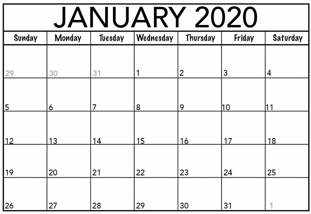 Printable January 2020 Calendar USA